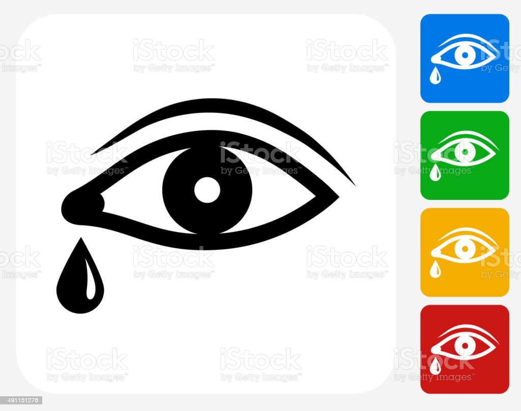 Eye with Tear Icon Flat Graphic Design vector art illustration