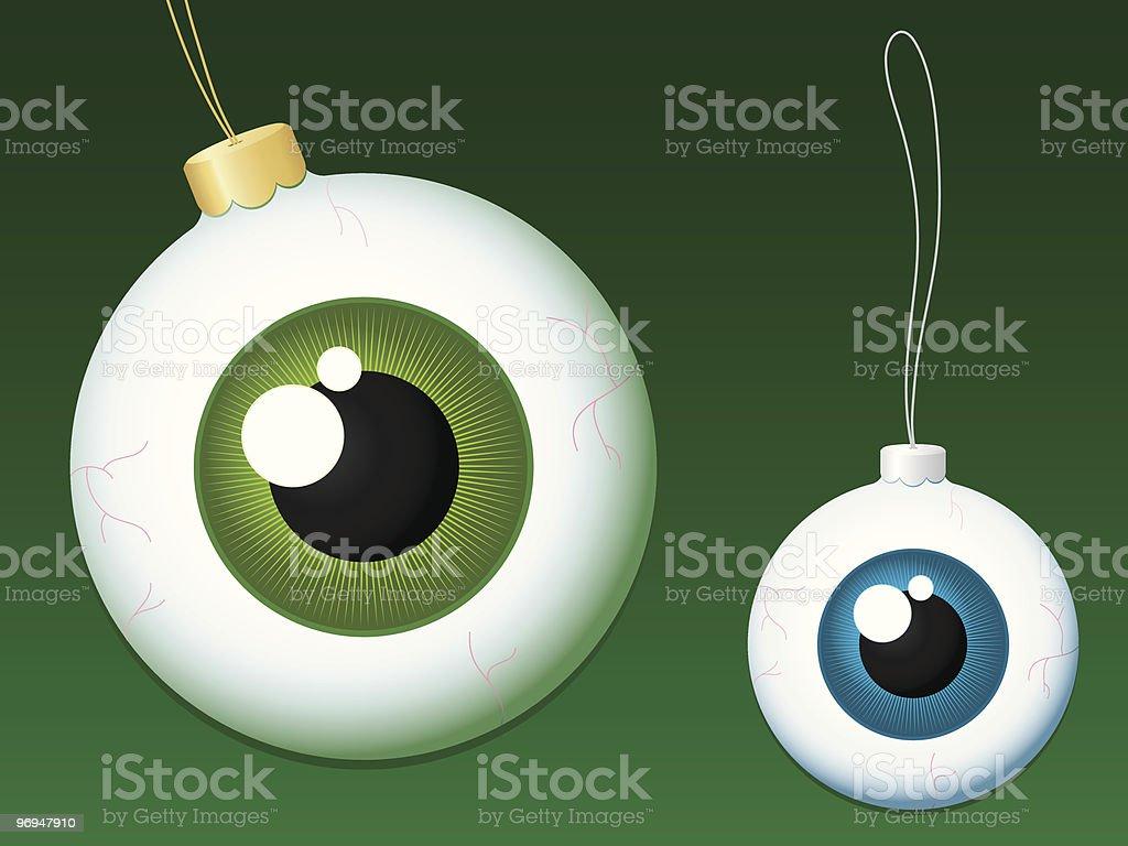 Eyeball christmas baubles royalty-free stock vector art