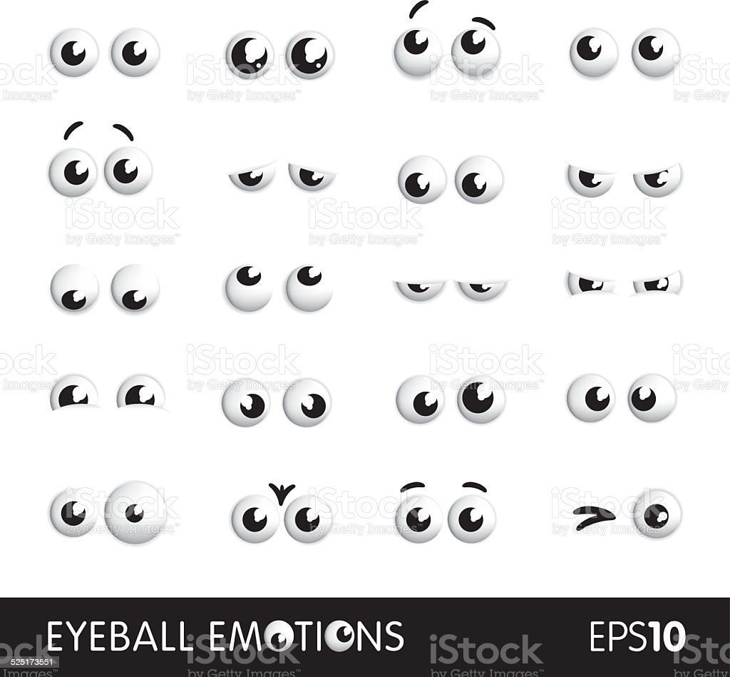 Eyeball emotions vector art illustration