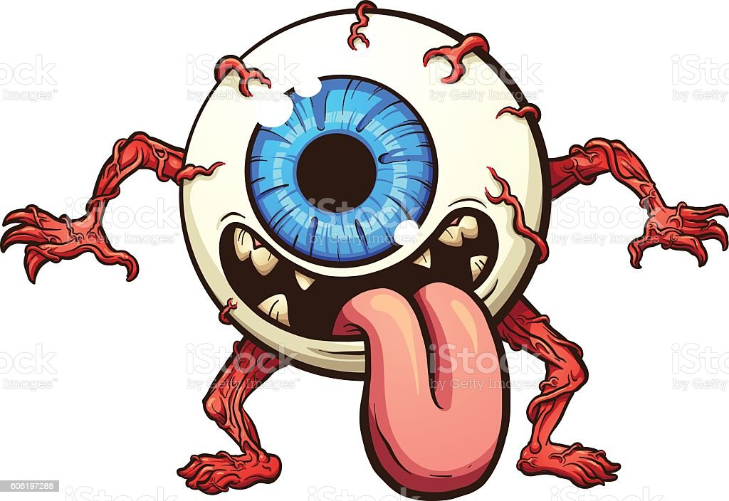 Eyeball monster vector art illustration