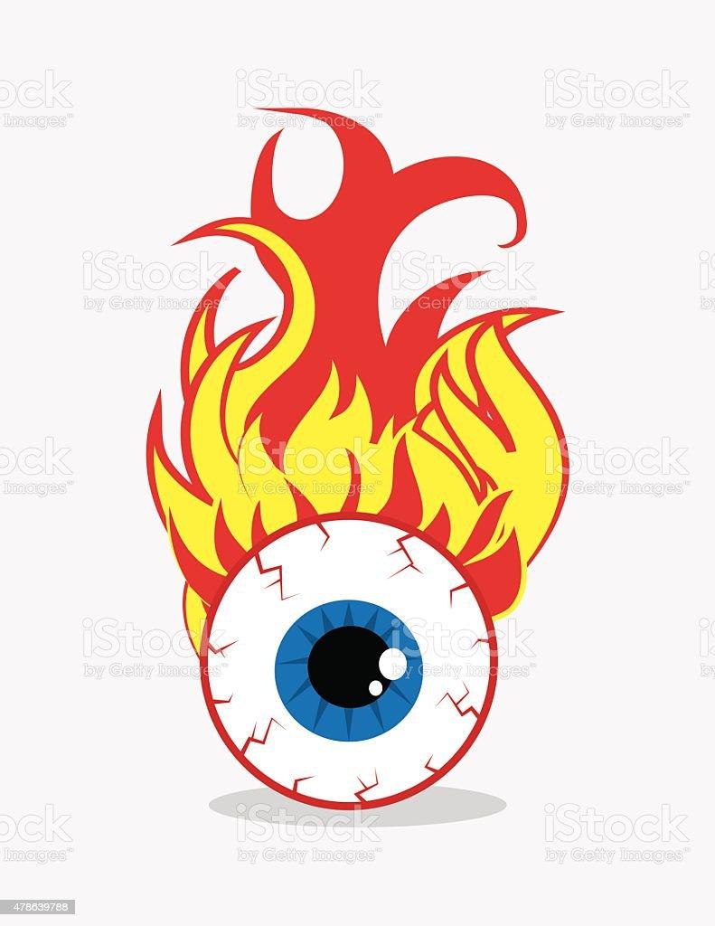 Eyeball on Fire vector art illustration