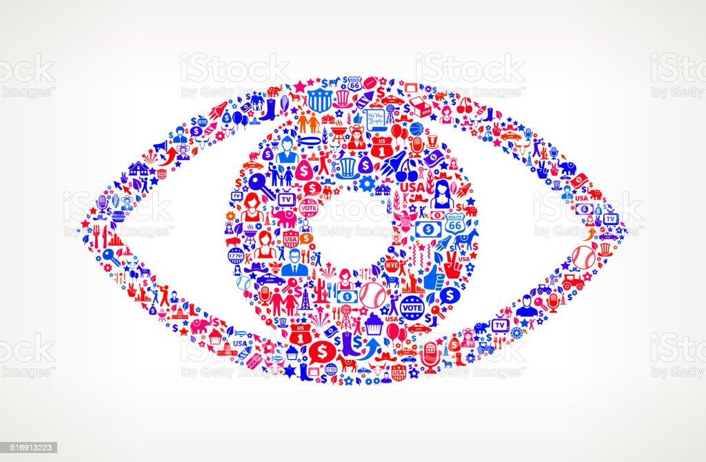 Eyeball on U.S.A Icon Pattern vector art illustration