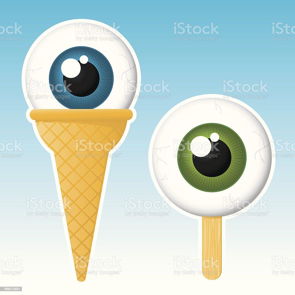 Eyeball popsicle / ice cream - vector royalty-free stock vector art