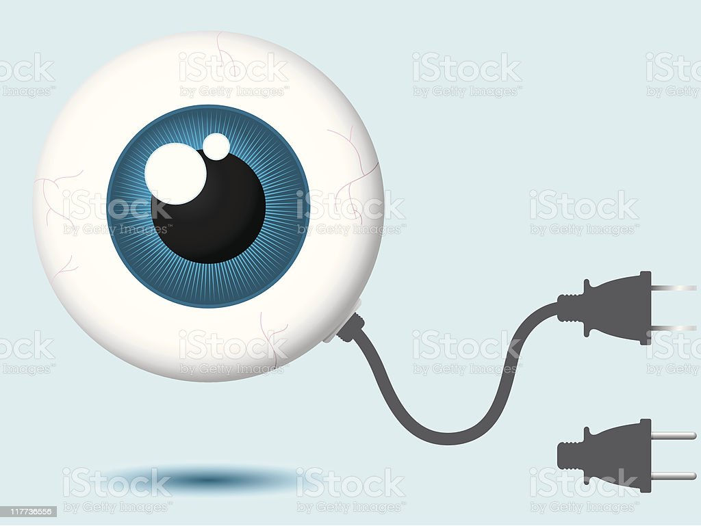 Eyeball with connector plug royalty-free stock vector art