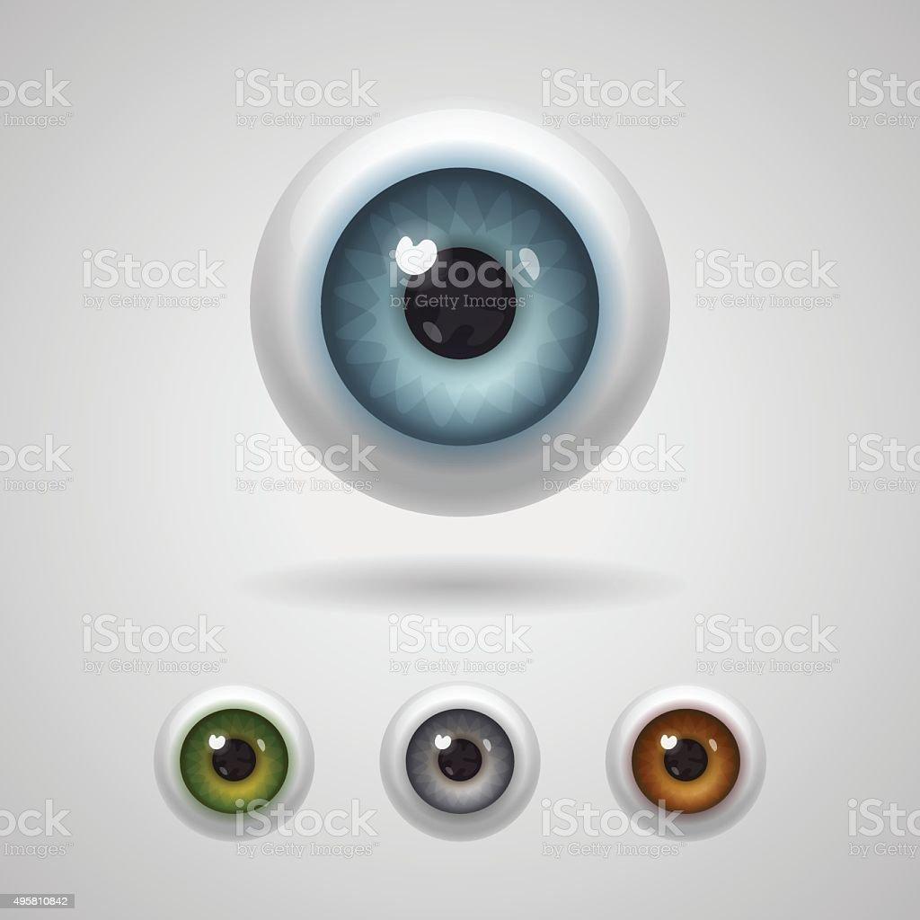 Eyeballs with big irises vector art illustration