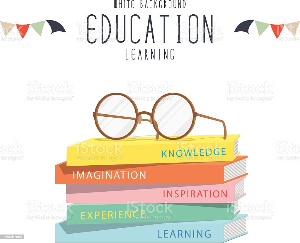 Eyeglasses on top stack books. vector art illustration