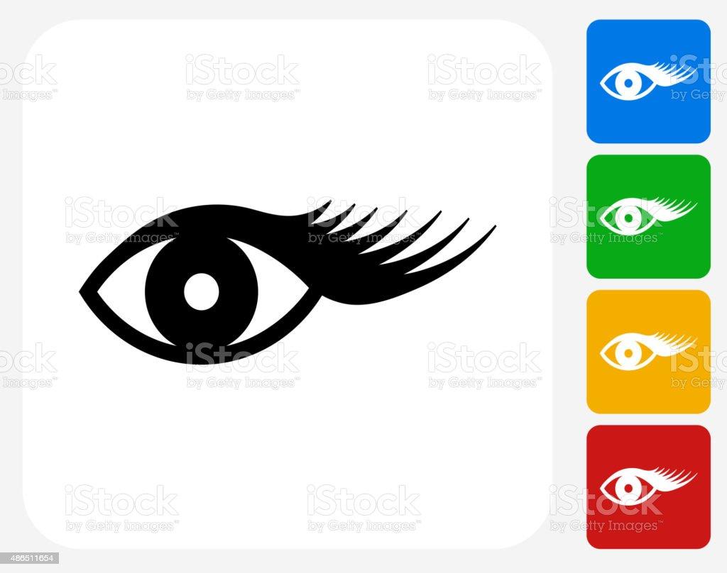 Eyelashes Icon Flat Graphic Design vector art illustration