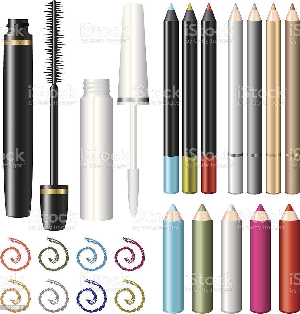 Eyeliner and Lip liner vector art illustration