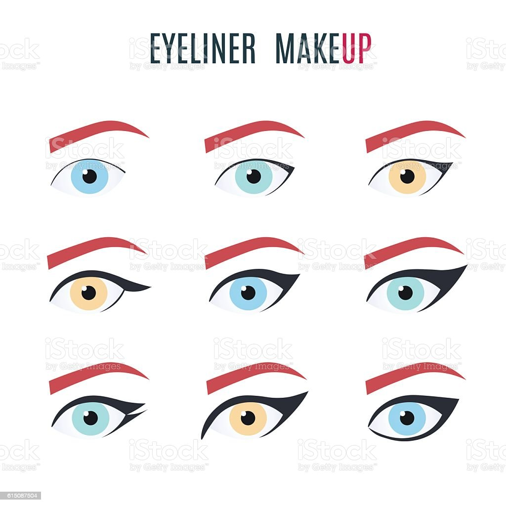 Eyeliner make up types vector art illustration