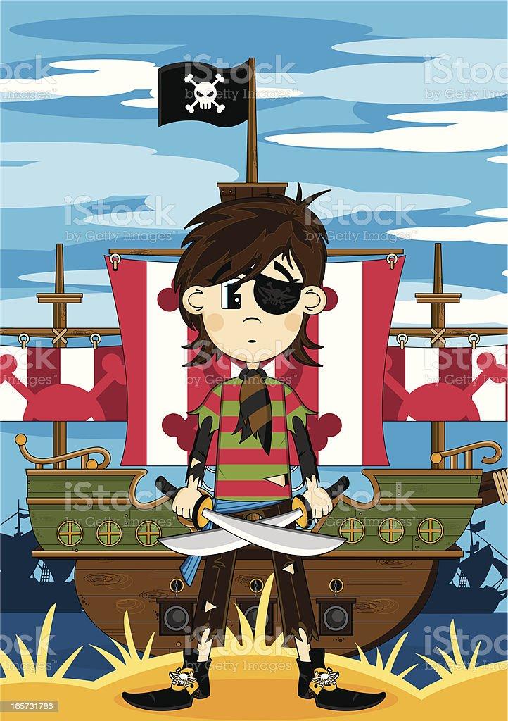 Eyepatch Pirate Girl & Ship royalty-free stock vector art