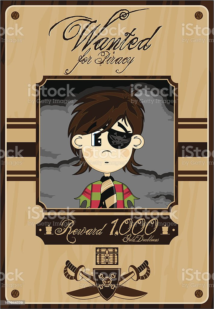 Eyepatch Pirate Wanted Poster royalty-free stock vector art