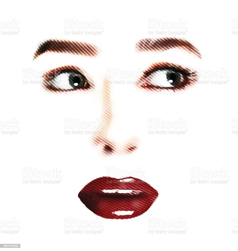 Eyes and Mouth Frightened expression cutout. vector art illustration