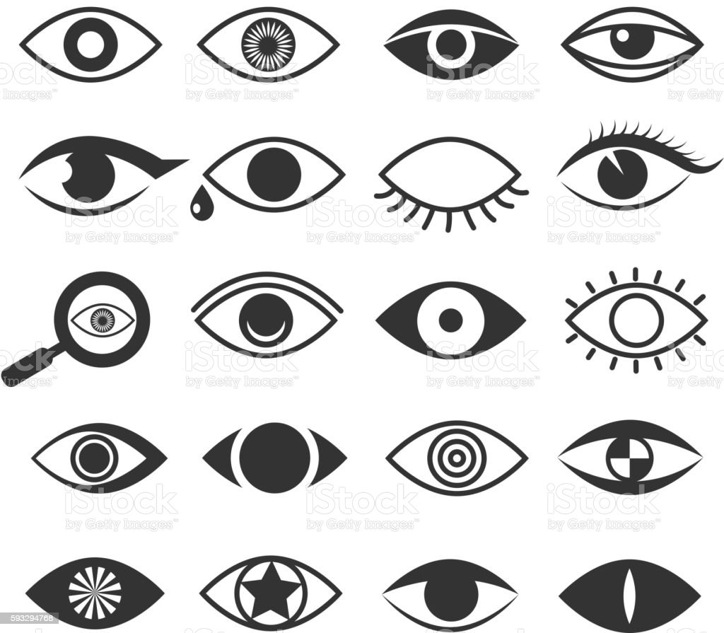 Eyes eye vision vector icons set vector art illustration