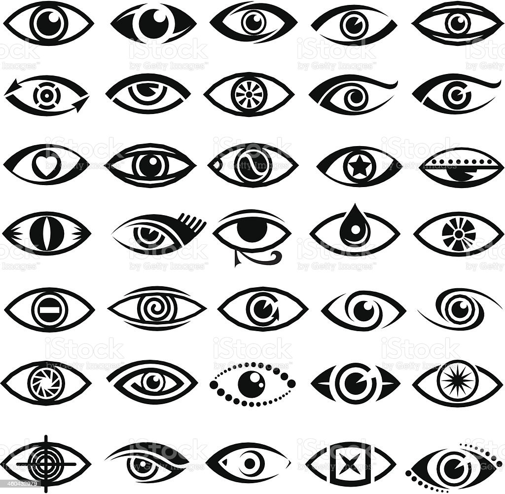 eyes icons vector art illustration