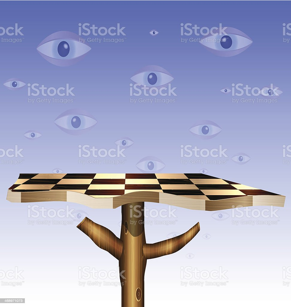 eyes in the sky and abstract chess board royalty-free stock vector art