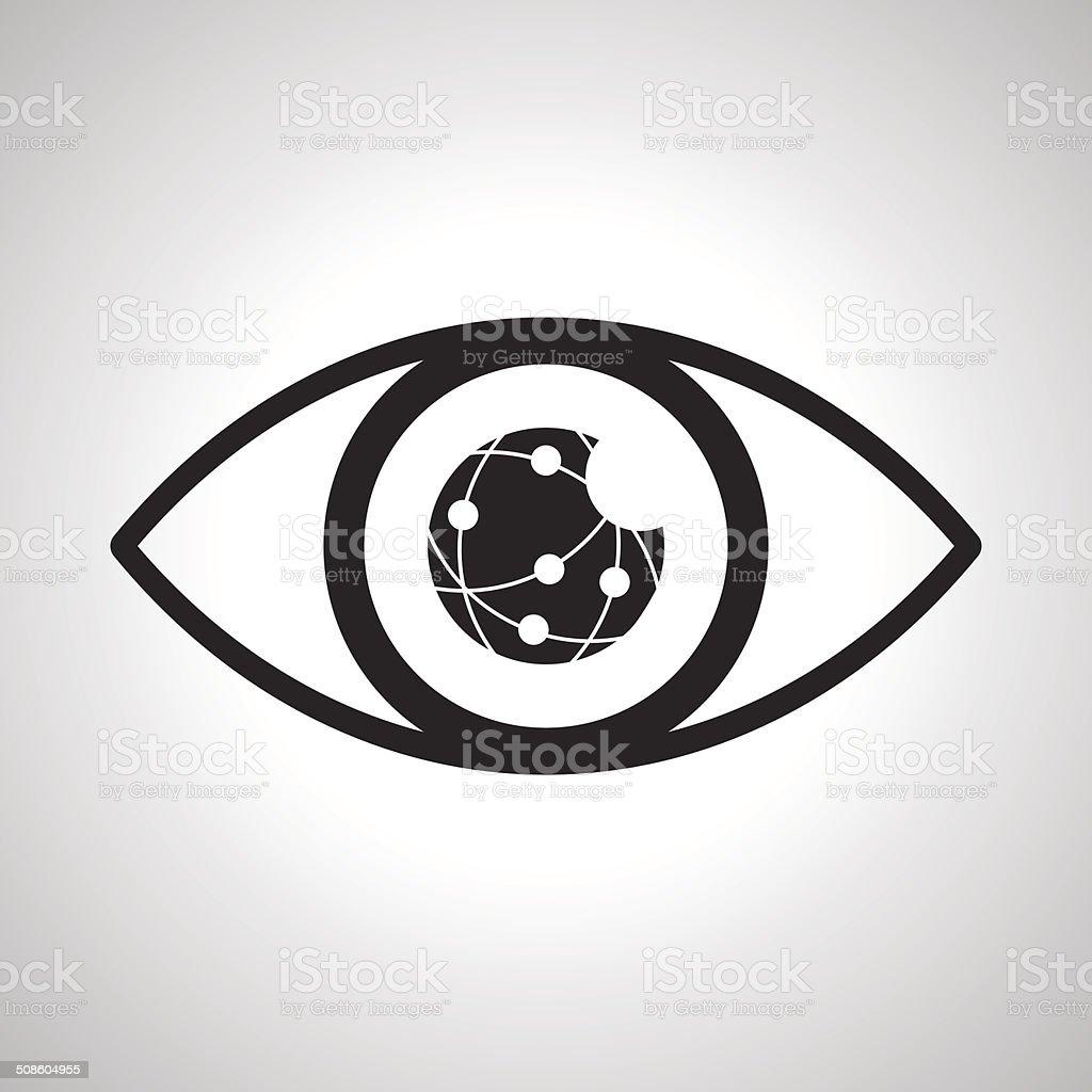 Eyes looking online network vector art illustration