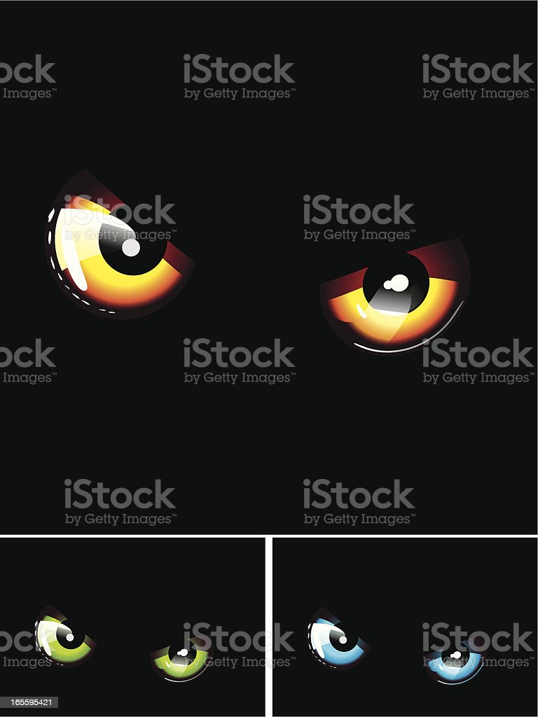 eyes out of the dark vector art illustration