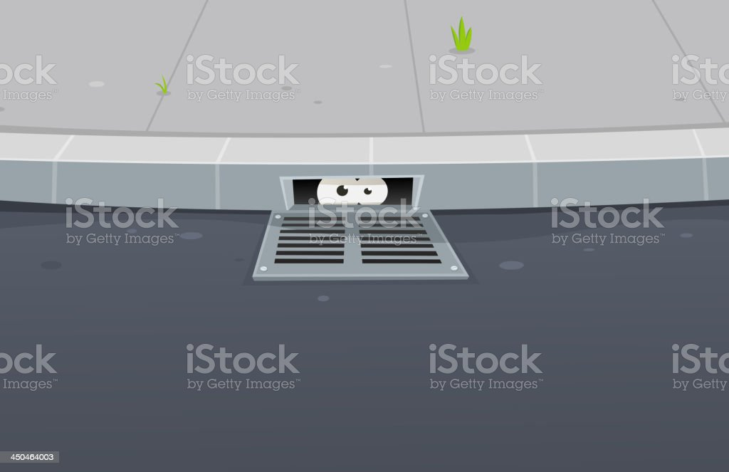 Eyes Spying Inside Pavement Gutter Hole vector art illustration