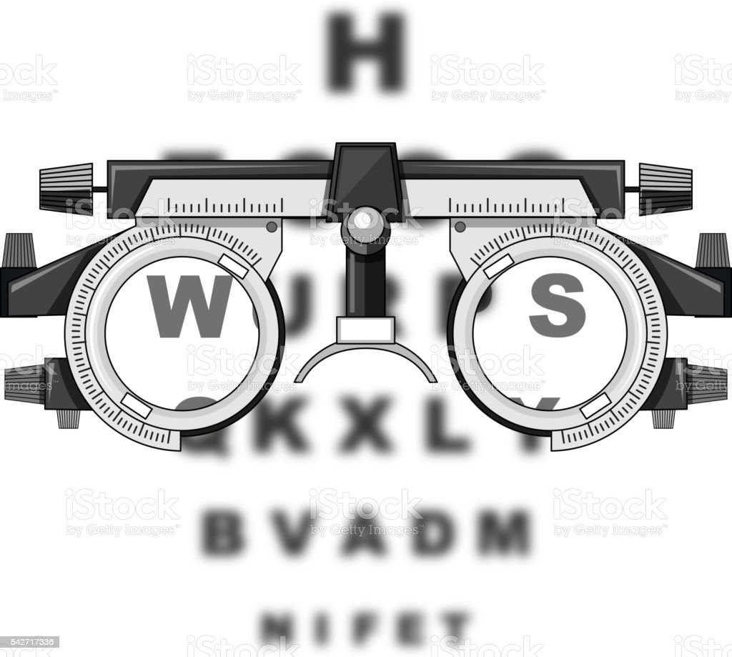 Eyesight test glasses and reading boards vector art illustration