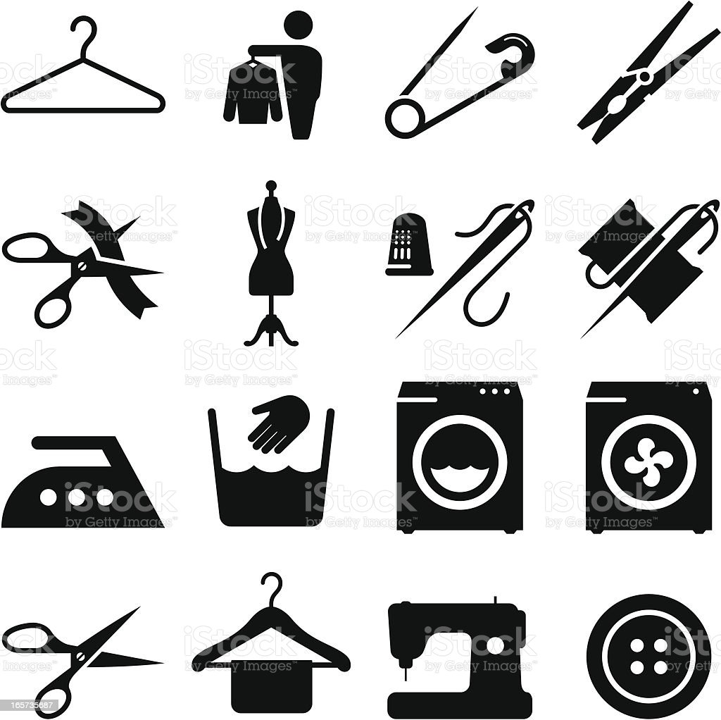 Fabric And Textiles Icons - Black Series vector art illustration