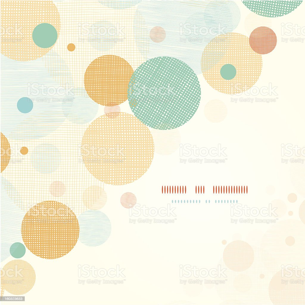 Fabric circles abstract corner pattern background royalty-free stock vector art