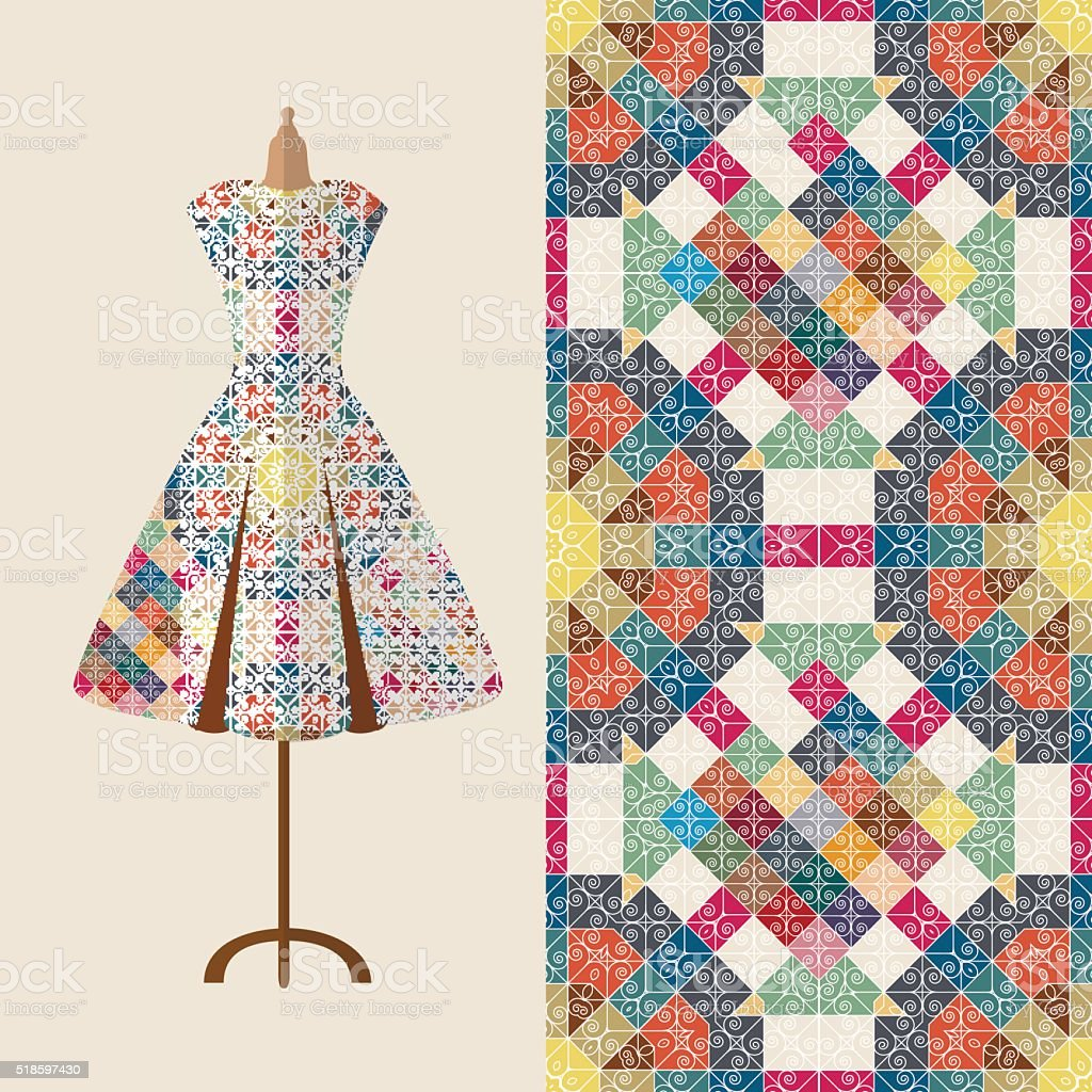 Fabric pattern design for a woman's dress. vector art illustration