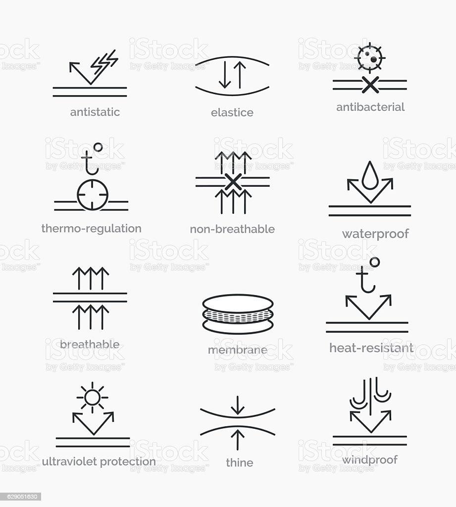 Fabric properties icons vector art illustration