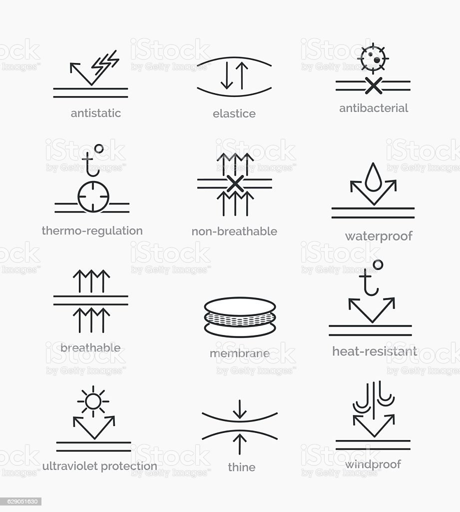 Fabric properties icons vector art illustration