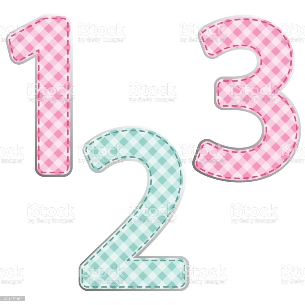 Fabric retro numbers in shabby chic style vector art illustration