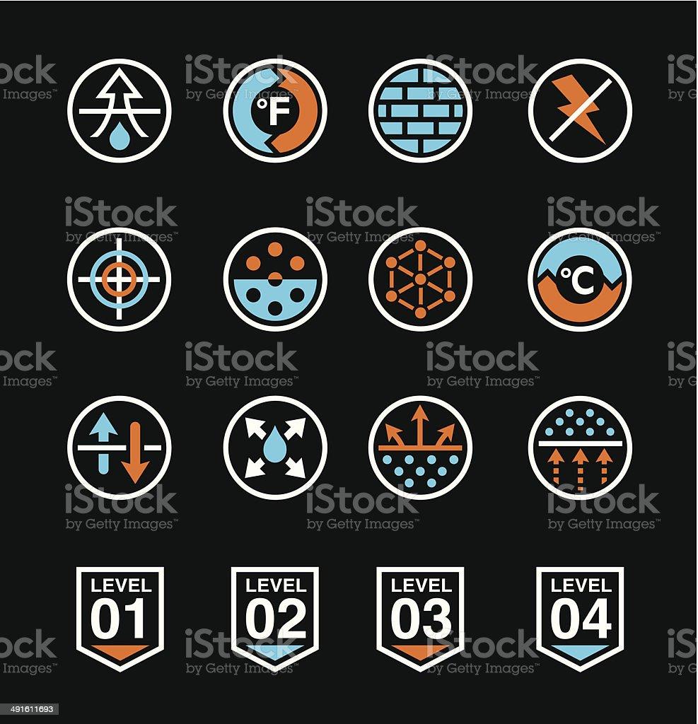 Fabric technology icons vector art illustration