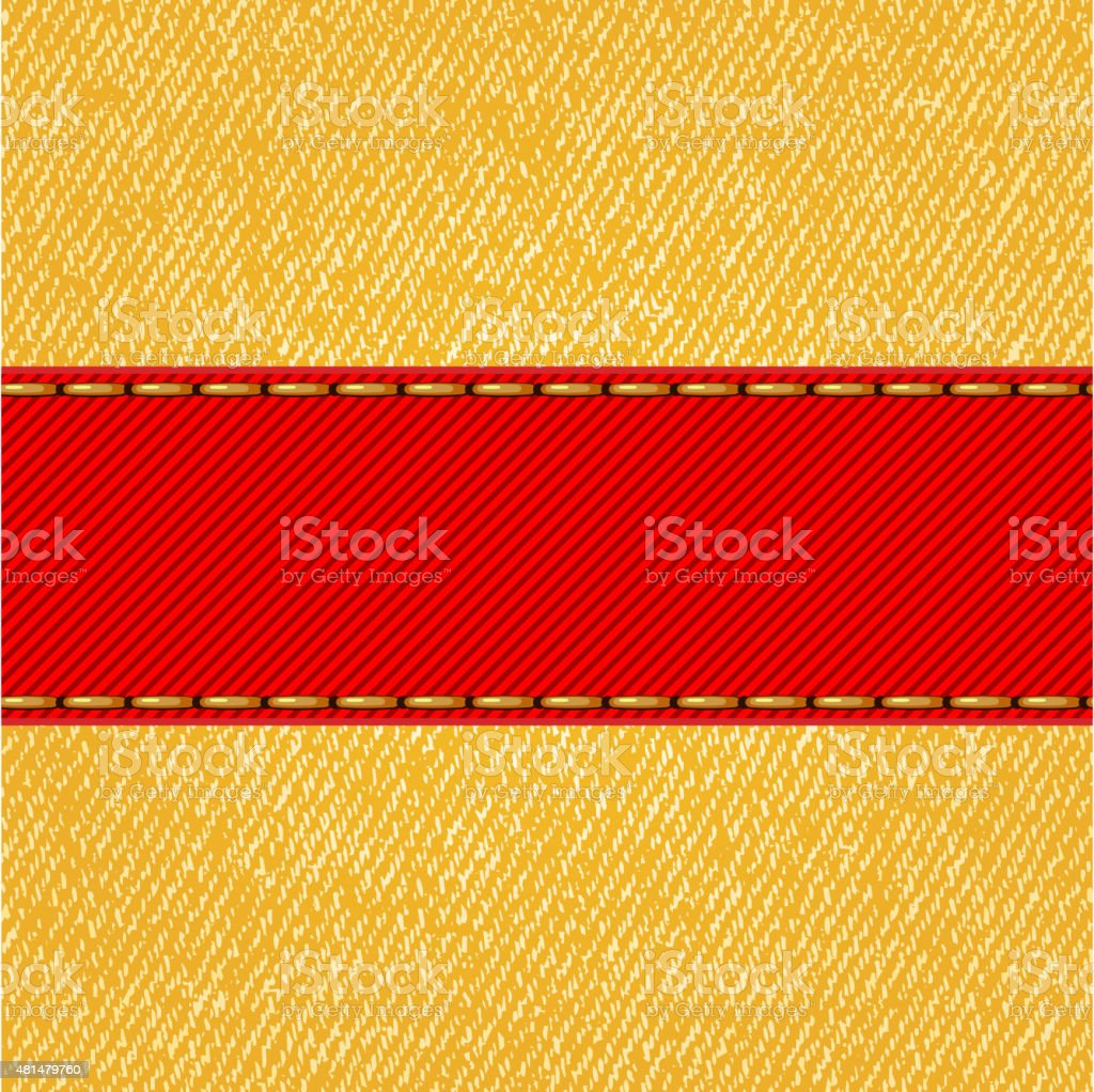 Fabric texture with label ribbon. Vector vector art illustration