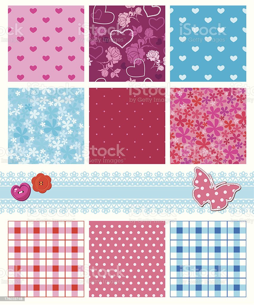 fabric textures in pink and blue colors - seamless patterns royalty-free stock vector art