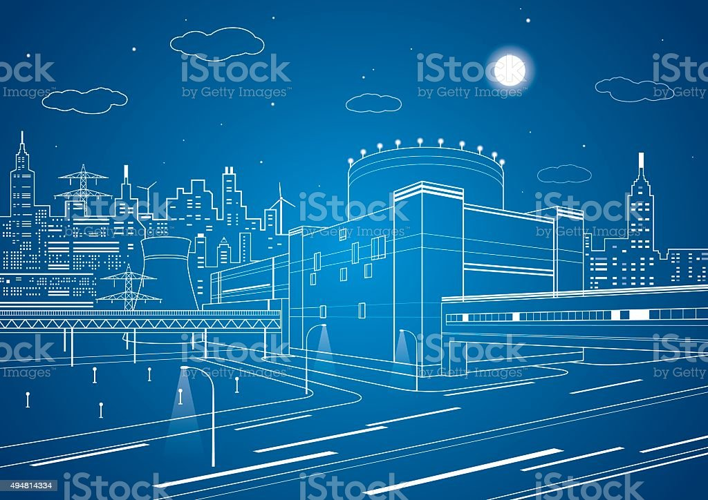 Fabric, vector lines factory, city lines vector art illustration