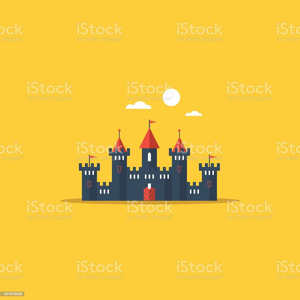 Fabulous fairy castle vector art illustration