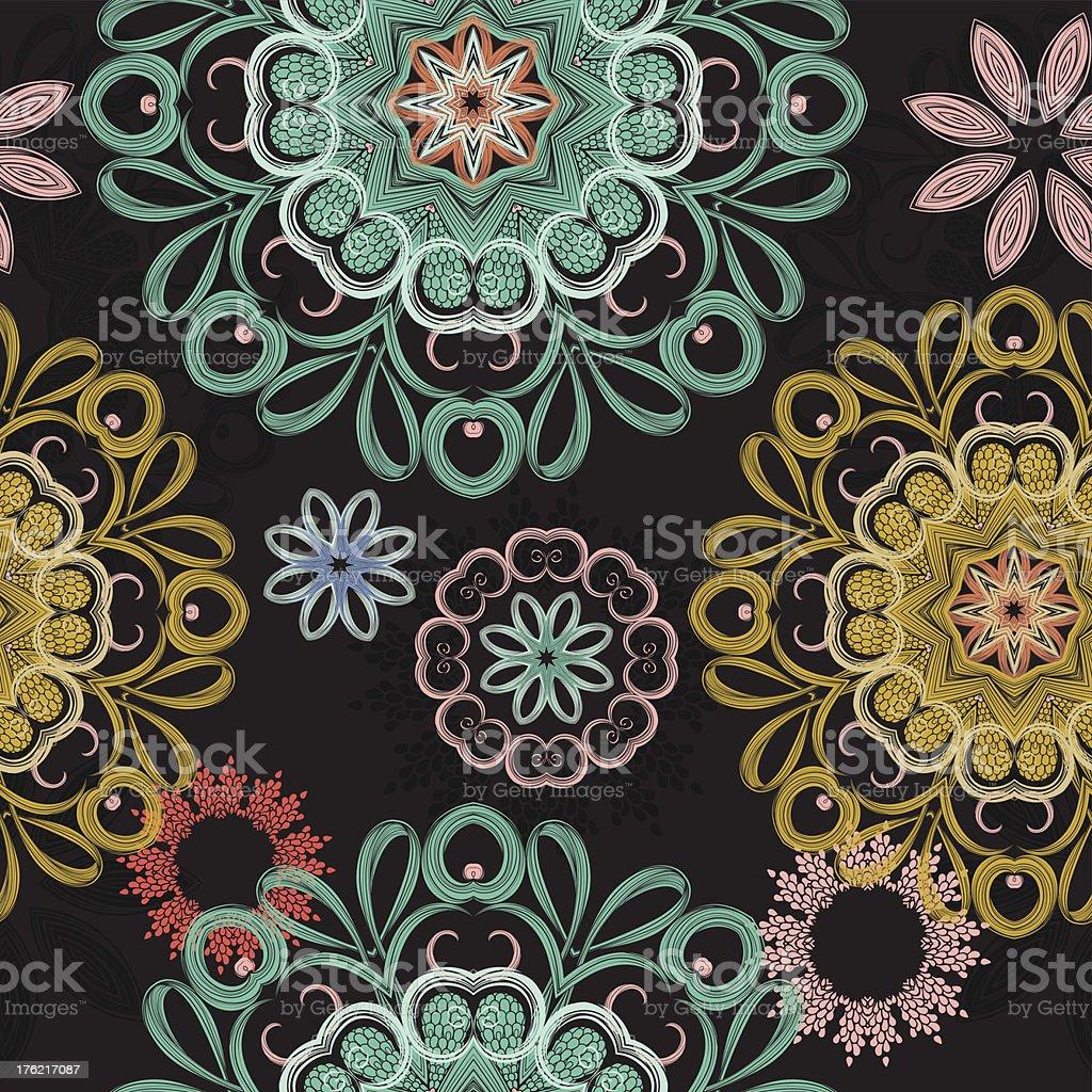 Fabulous flowers mandala cold royalty-free stock vector art