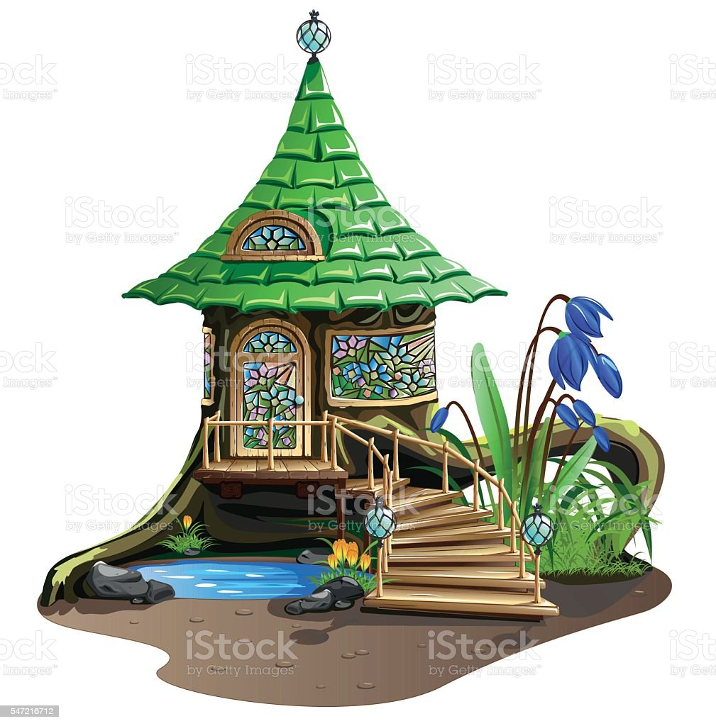 Fabulous house with stained glass vector art illustration