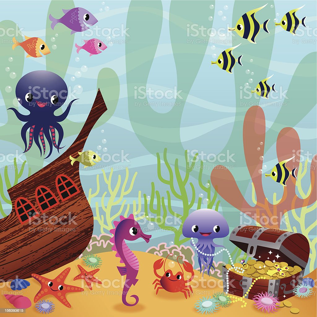 Fabulous Underwater Life. vector art illustration