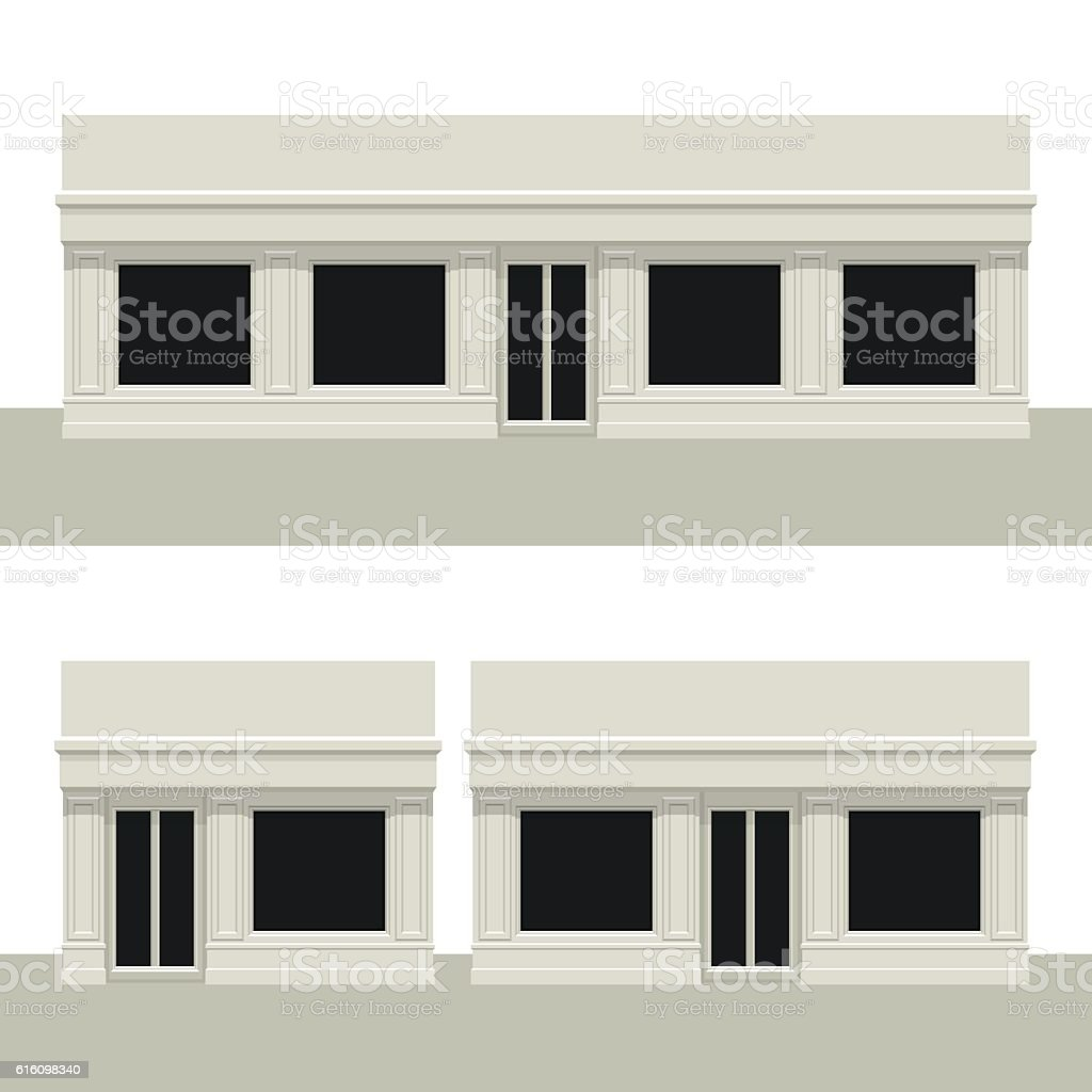 Facade building. Front of house. vector art illustration