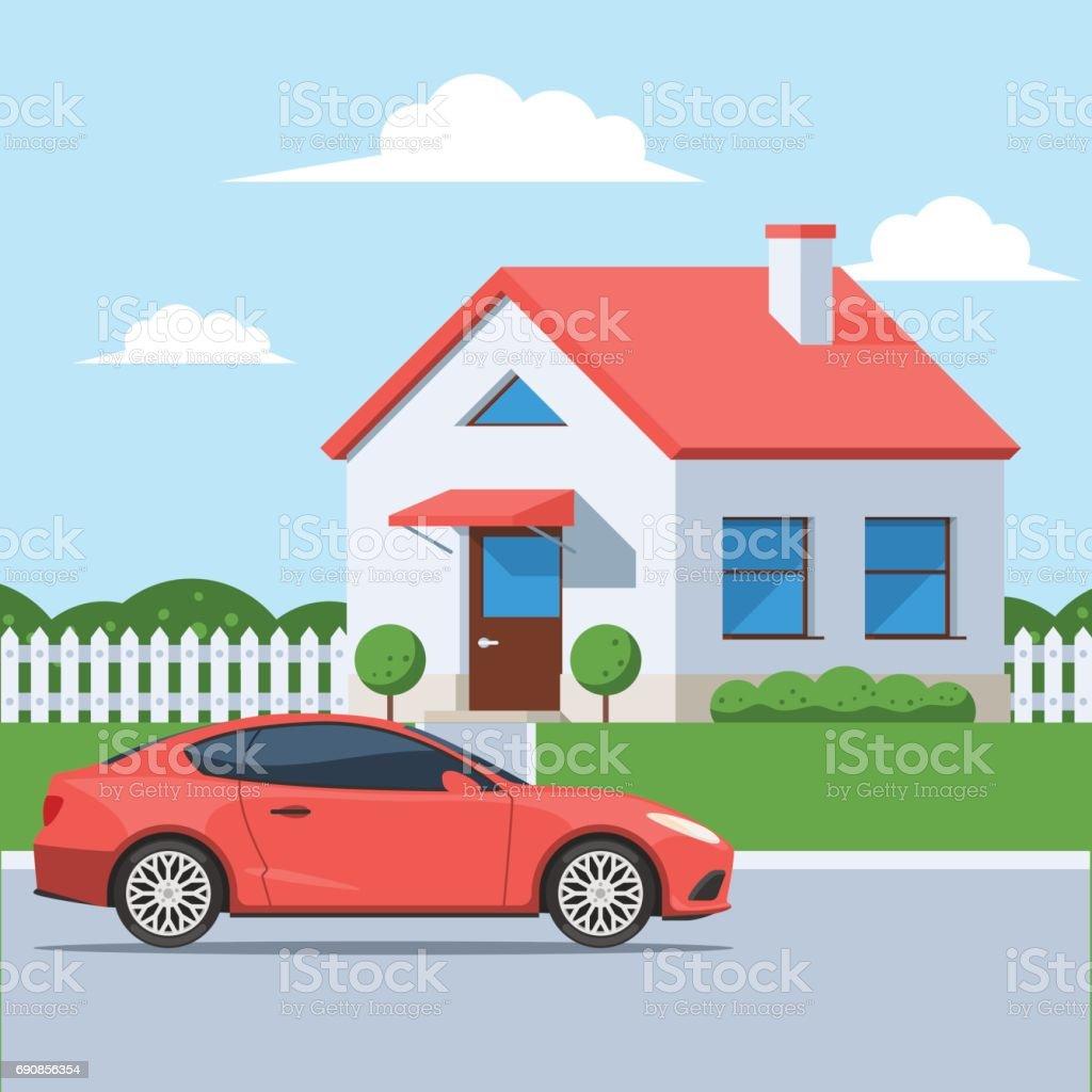 Facade house with a car vector art illustration