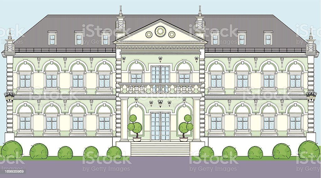 Facade of the building in classical European style vector art illustration