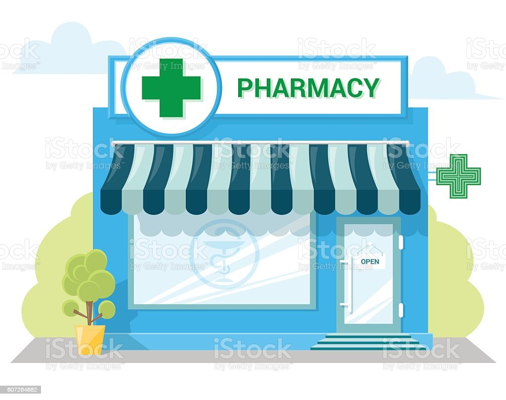 Facade pharmacy store with a signboard, awning, symbol on shopwindow. vector art illustration