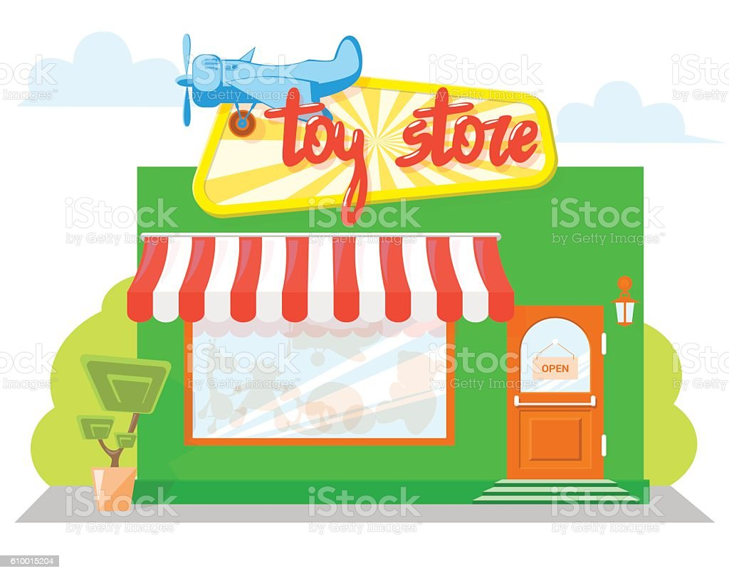Cartoon kitchen with cabinets and window vector art illustration -  Facade Toy Store With A Signboard Awning Playthings In Shopwindow Vector Art Illustration