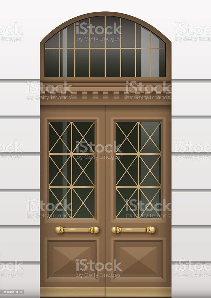 Facade with entrance door vector art illustration