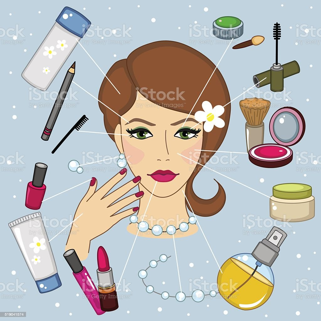 Face and cosmetics vector art illustration