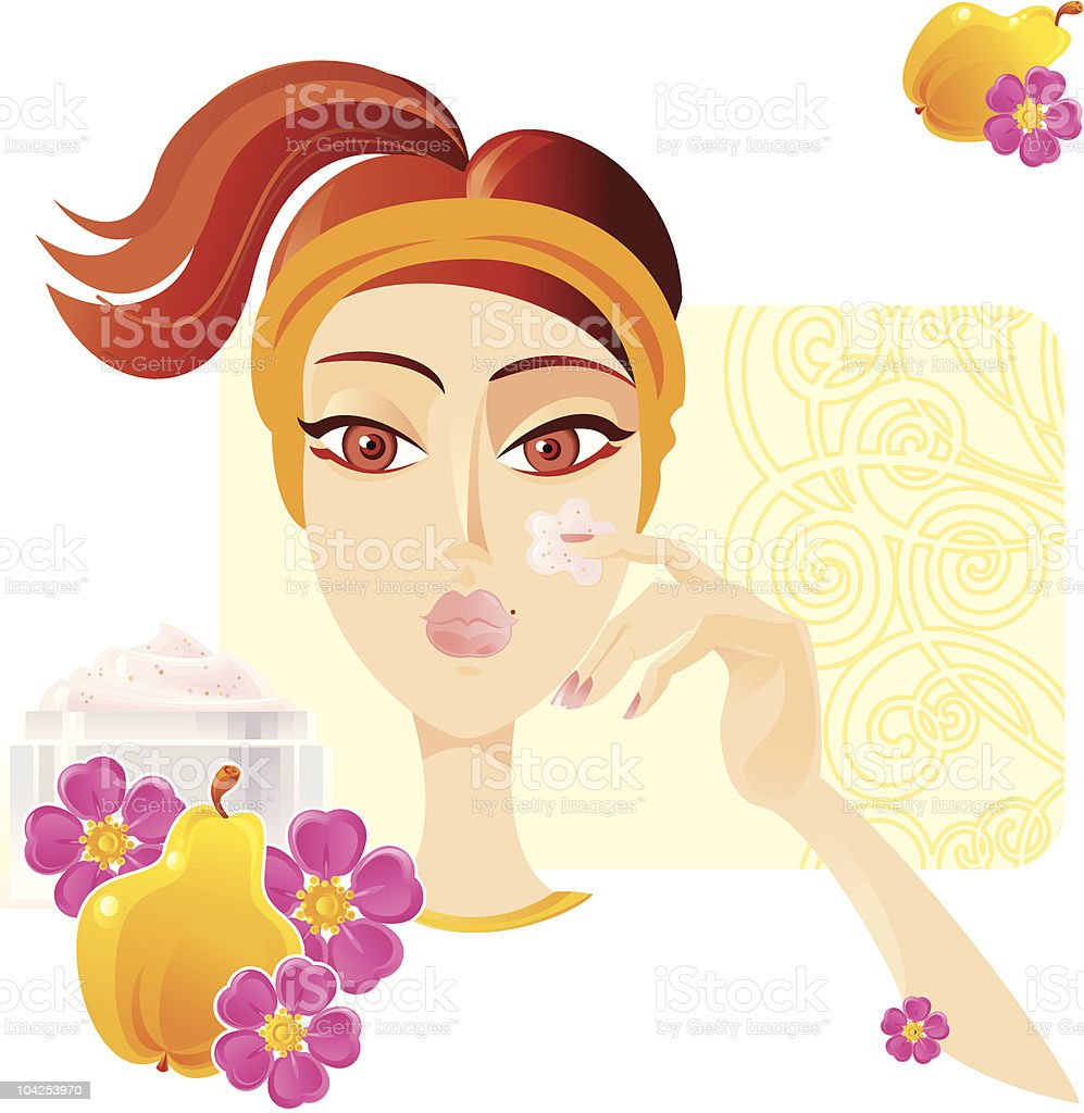 Face care SPA. (Quince and Wild Rose) vector art illustration