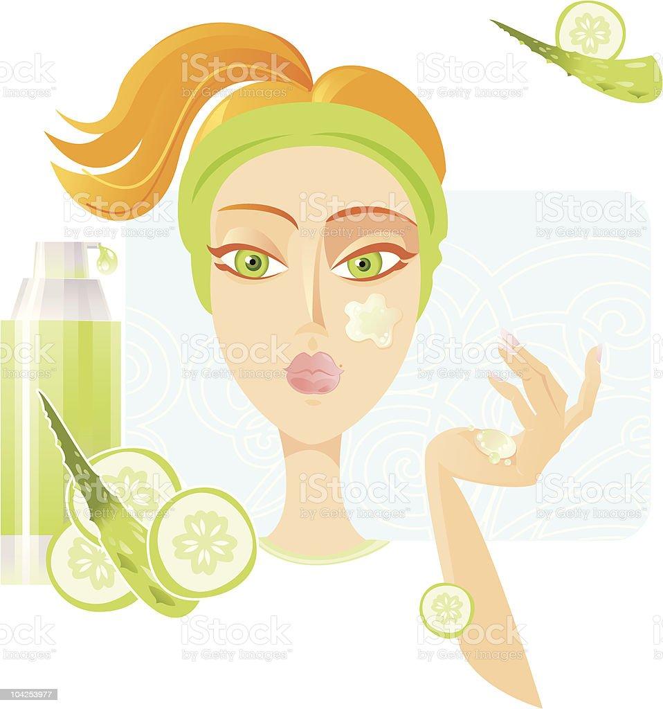 Face care SPA. (Cucumber and Aloe-Vera) royalty-free stock vector art