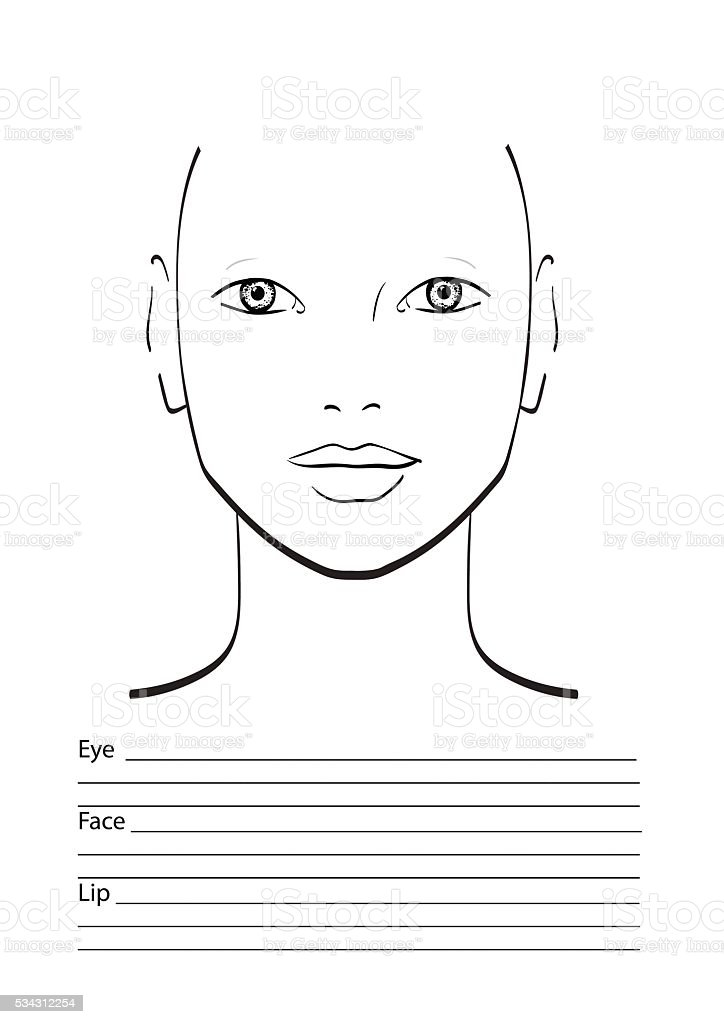 Face Chart Makeup Artist Blank Template Stock Vector Art