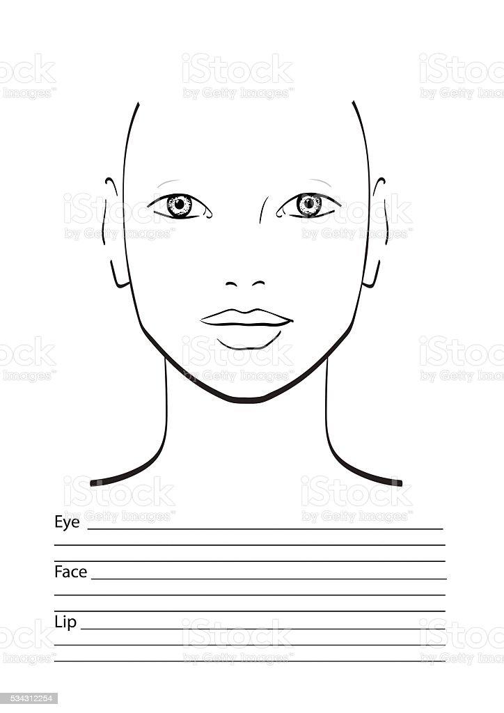 Face Chart Makeup Artist Blank Template Stock Vector Art 534312254