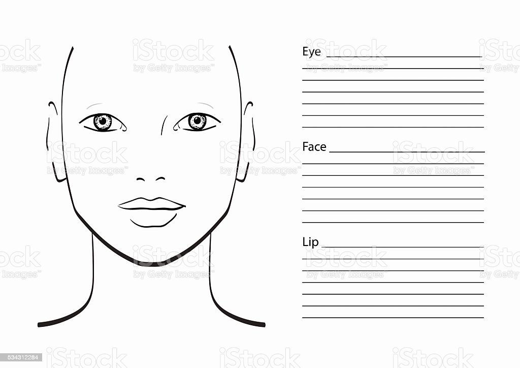 Face Chart Makeup Artist Blank Template Stock Vector Art 534312284
