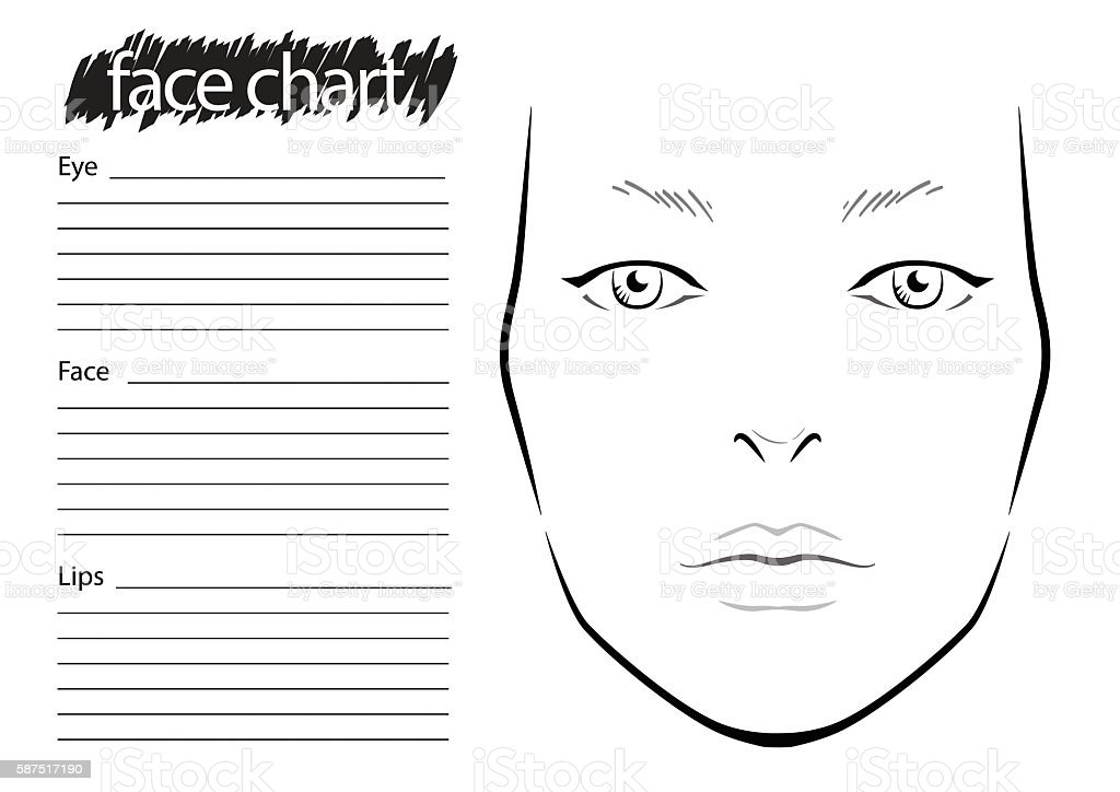 Face Chart Makeup Artist Blank Template Stock Vector Art 587517190